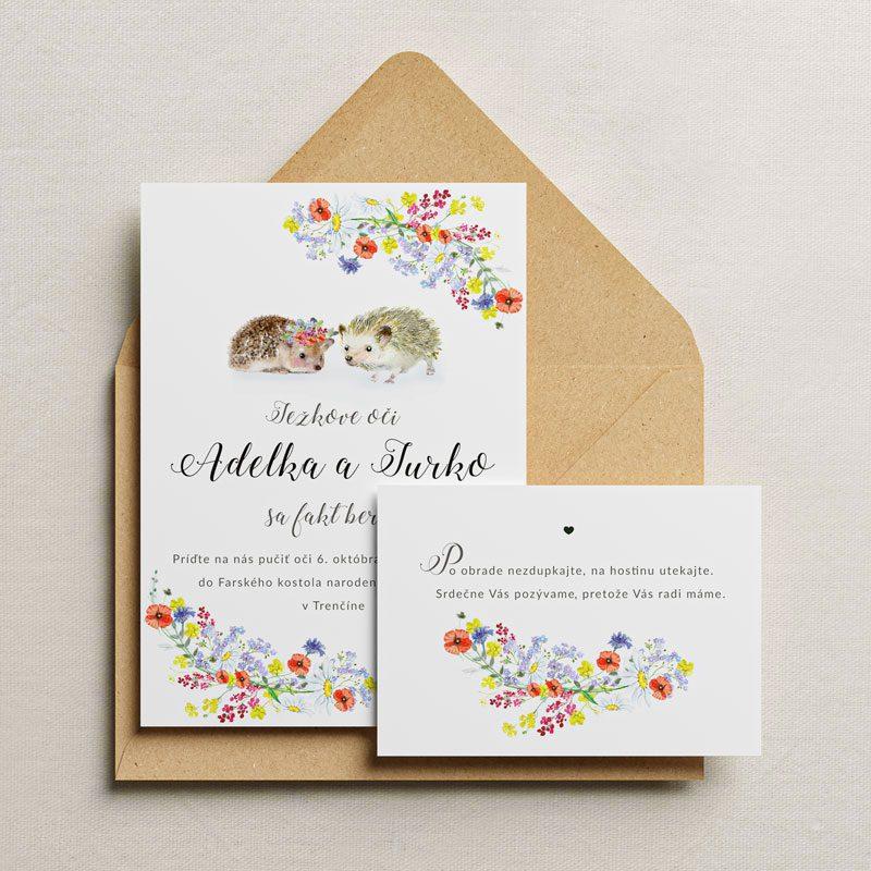 oznámenie a pozvanie ježkove oči s recyklovanou obálkou