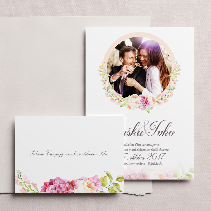 svadobné oznámenie a pozvanie s fotkou a maľovaným venčekom