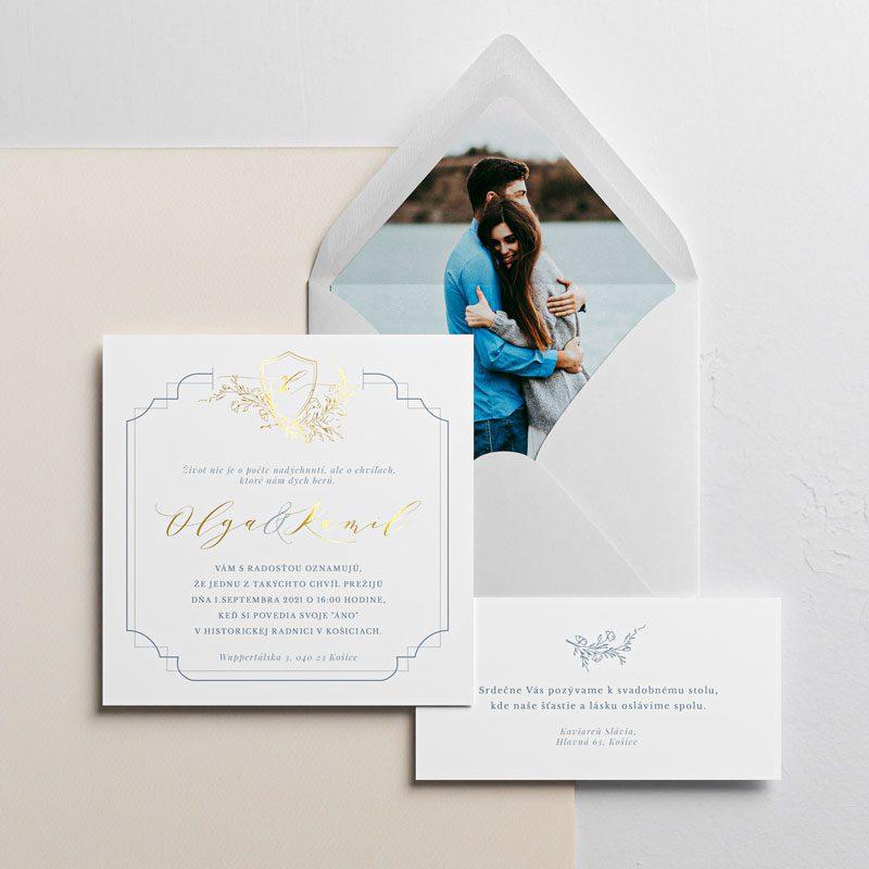 svadobné oznámenie a pozvanie s fotkou s modrím rámikom