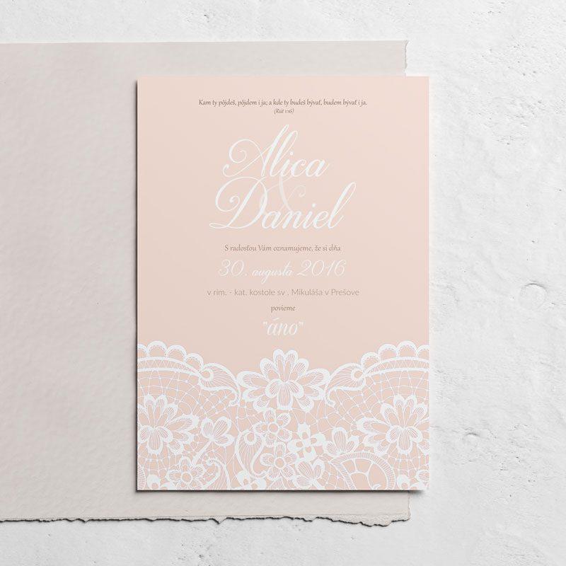 svadobné oznávenie krajka ružová