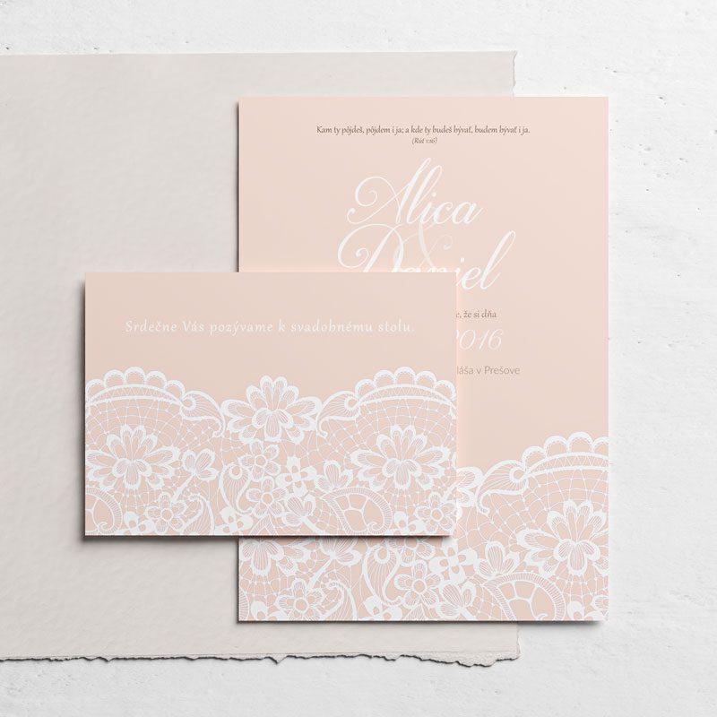 svadobné oznámenie a pozvanie krajka ružová