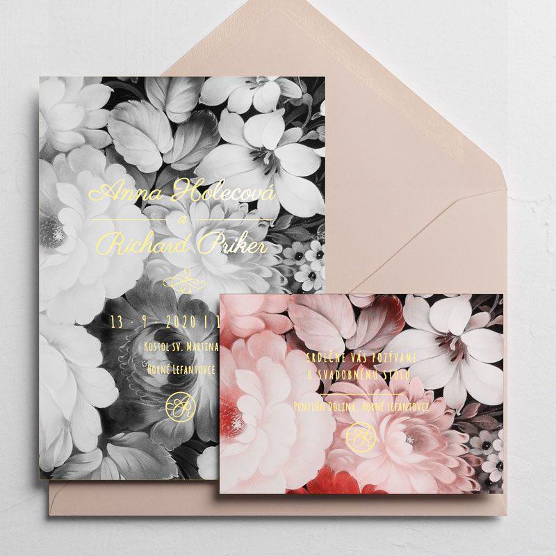 svadobné oznámenie vintage čiernobiele kvety