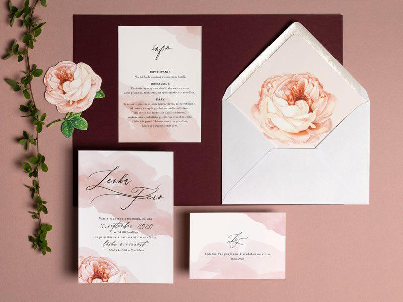 oznámenie pozvanie a obálka s motívom ruže a akvarelom
