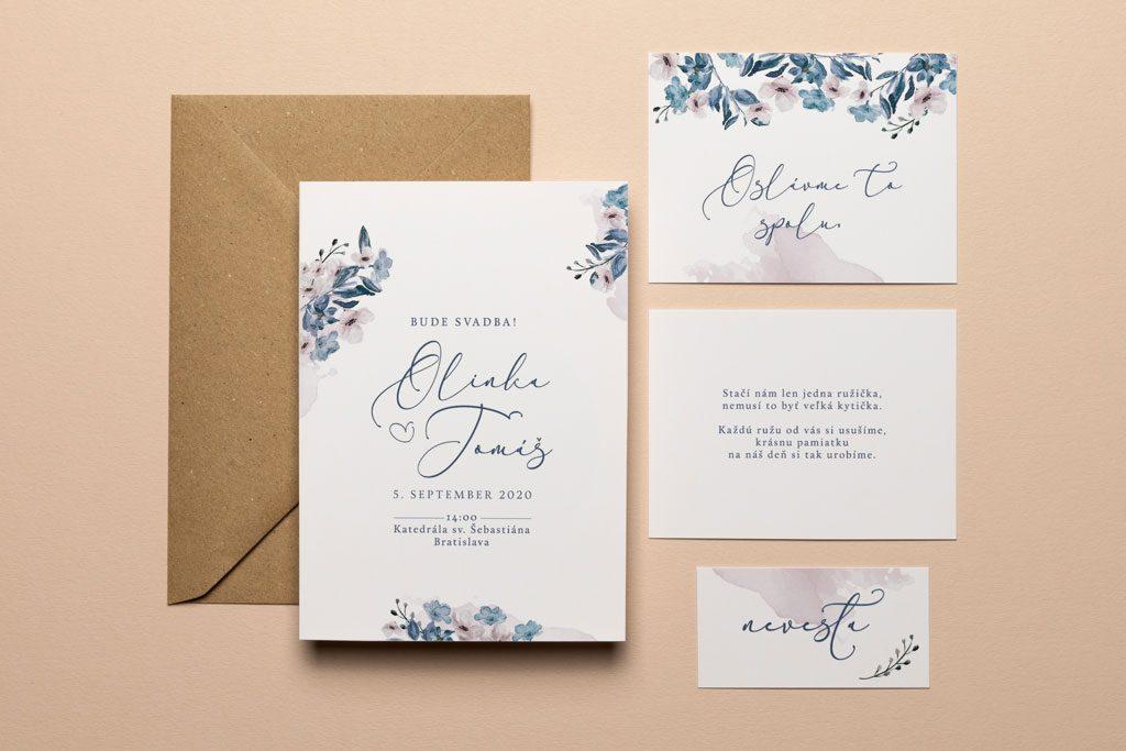 svadobné oznámenie s pozvaním obálkou a menovkou