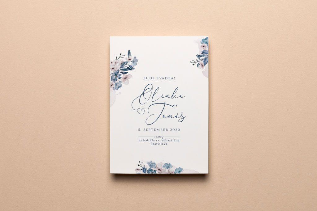 svadobné oznámenie s akvarelovými kvetmi