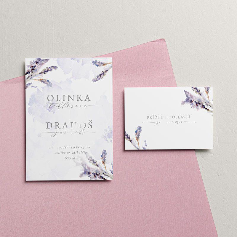 svadobné oznámenie s akvarelovými kvetmi s pozvaním menovkou a obálkou