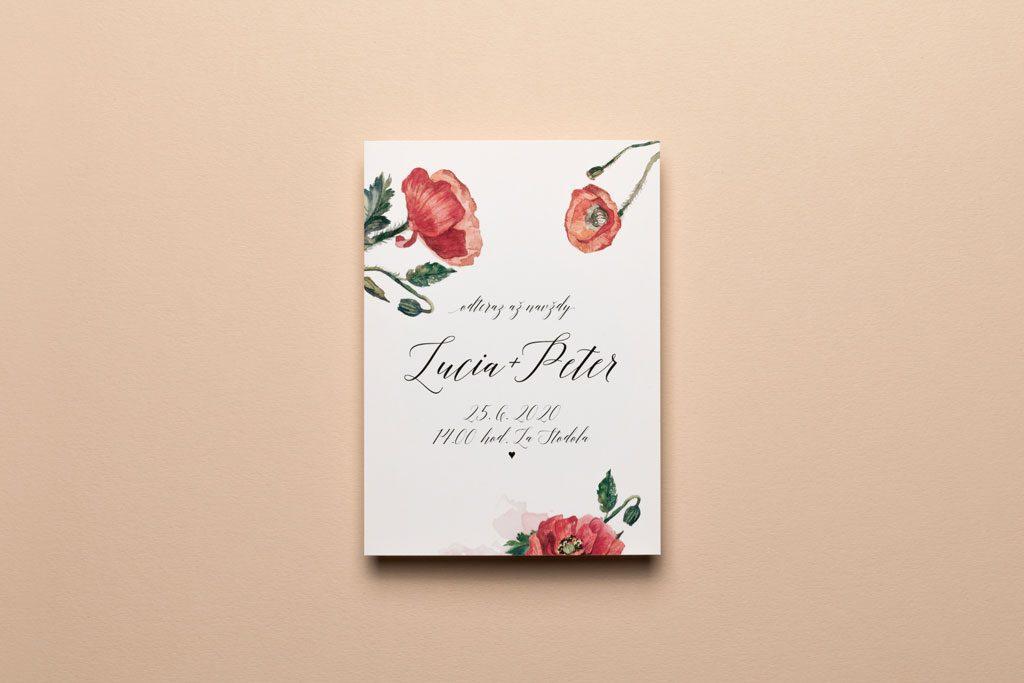 svadobné oznámenie s akvarelovovými makmi