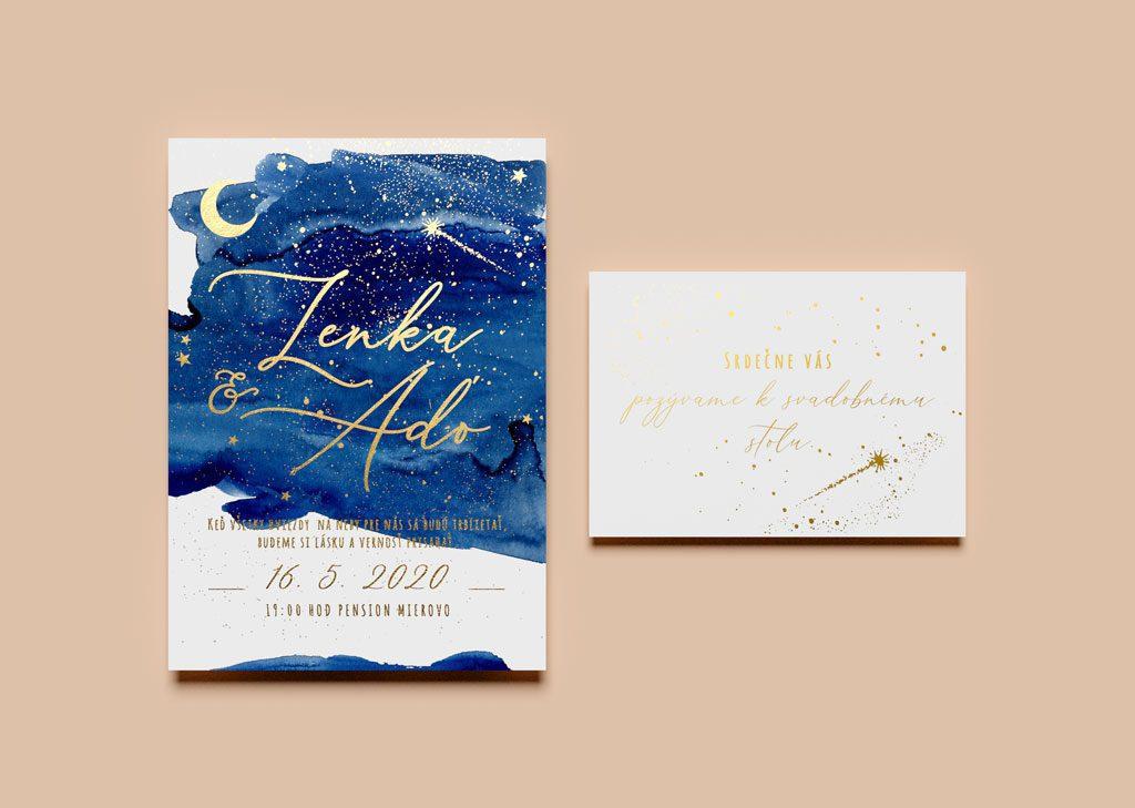 Zlatené svadobné oznámenie a pozvánka k stolu s nočnou oblohou