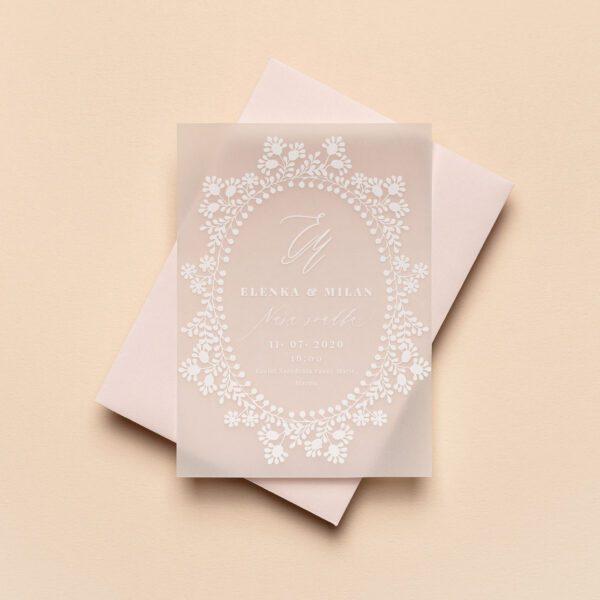 Svadobné oznámenie a obálka transparentný papier a biela tlač