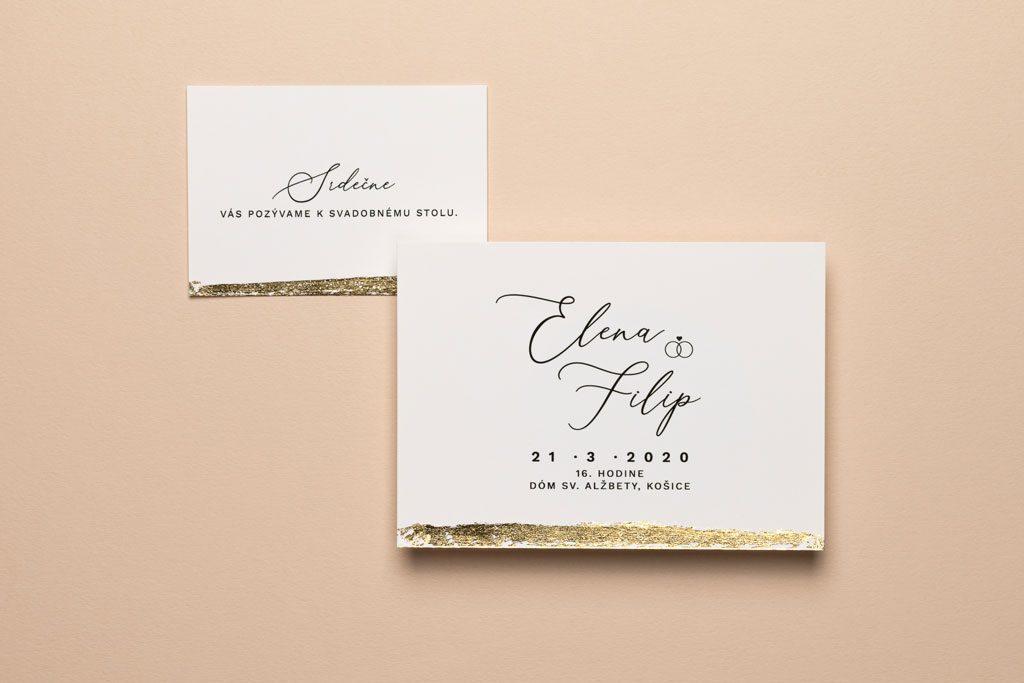 svadobné oznámenie a pozvánka zo zlátením
