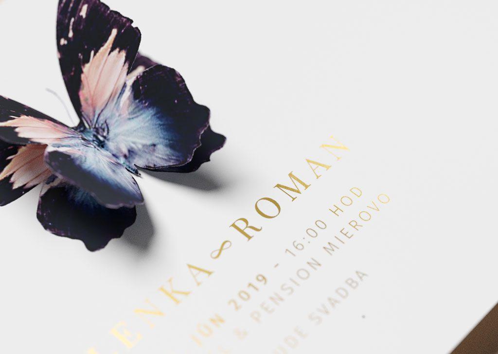 svadobné oznámenie motýľ detail