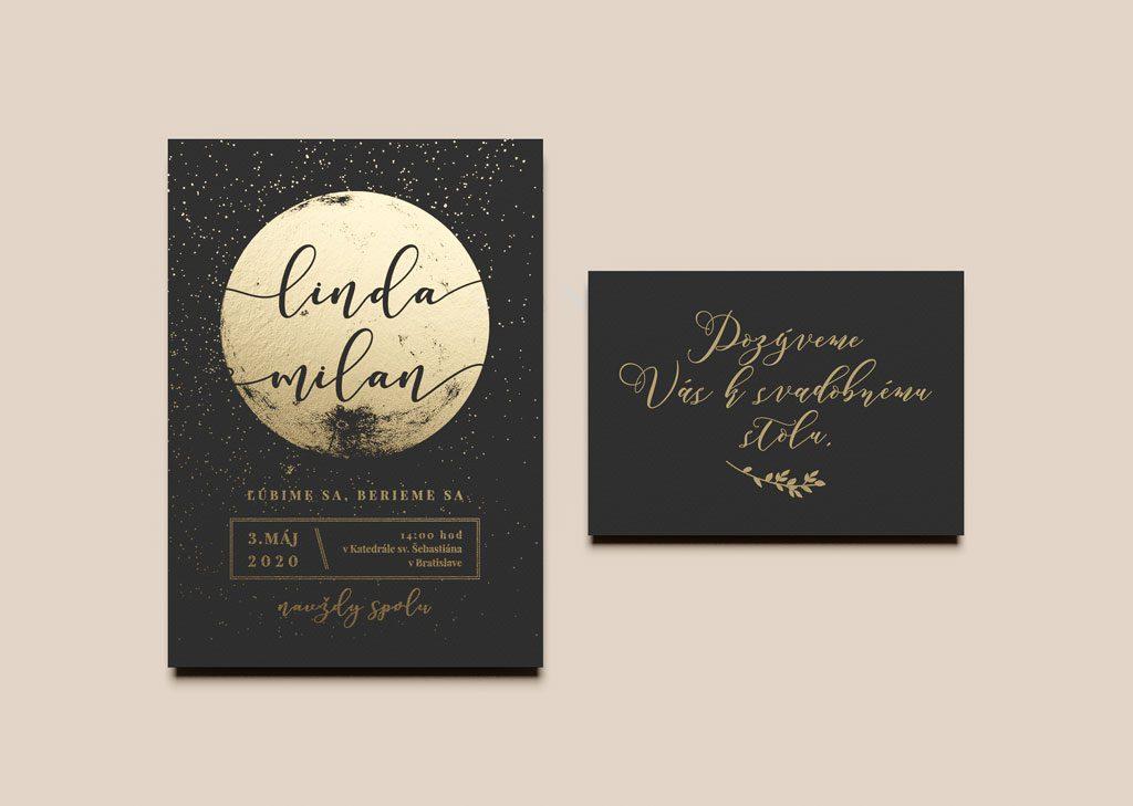 svadobné oznámenie a pozvanie k stolu s motívom mesiac