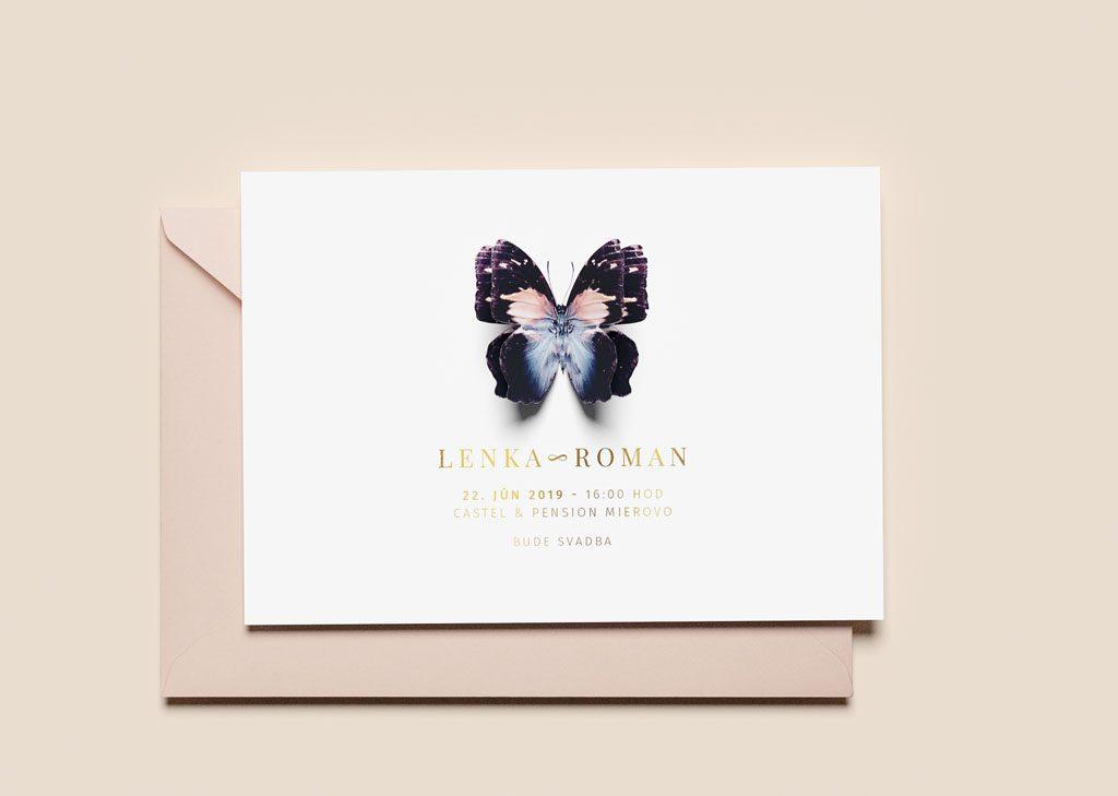 svadobné oznámenie s motívom motýla