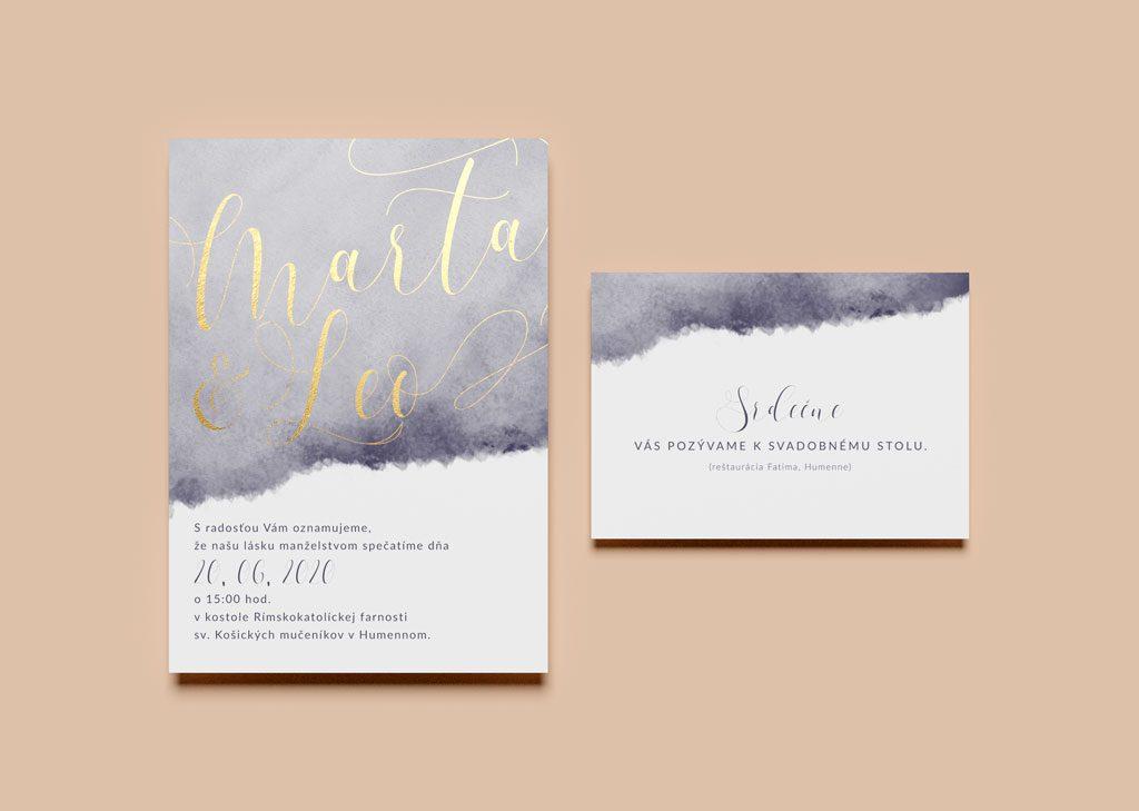 svadobné oznámenie a pozvanie watercolor zlátené