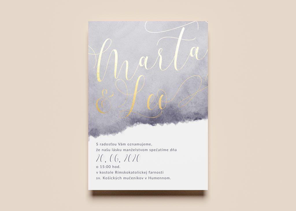 svadobné oznámenie watercolor zlátené
