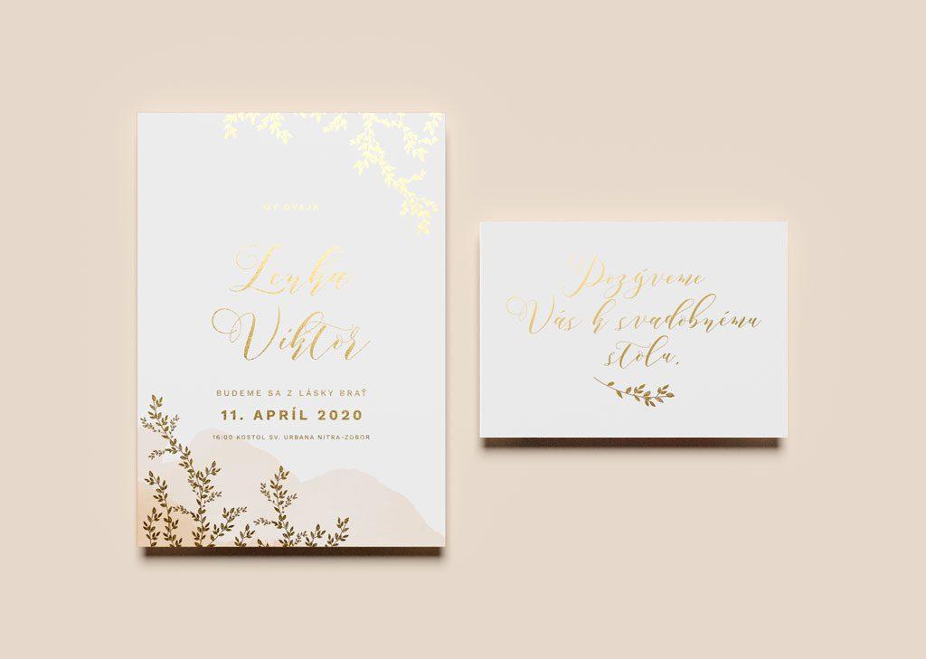 svadobné oznámenie a pozvanie zlaté vetvičky