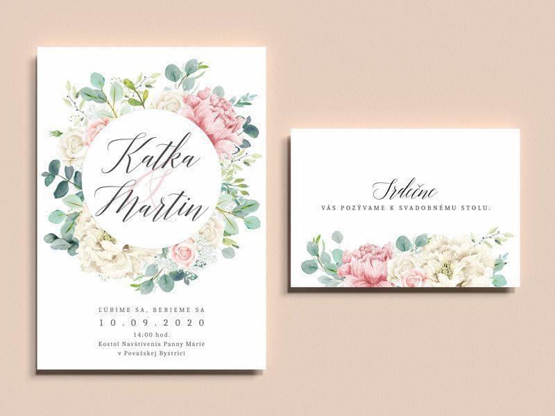 svadobne oznamenie a pozvanie k stolu s motivom kvetov pivonky