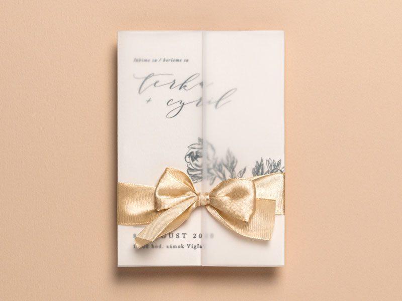 svadobné oznámenie s transparentným papierom