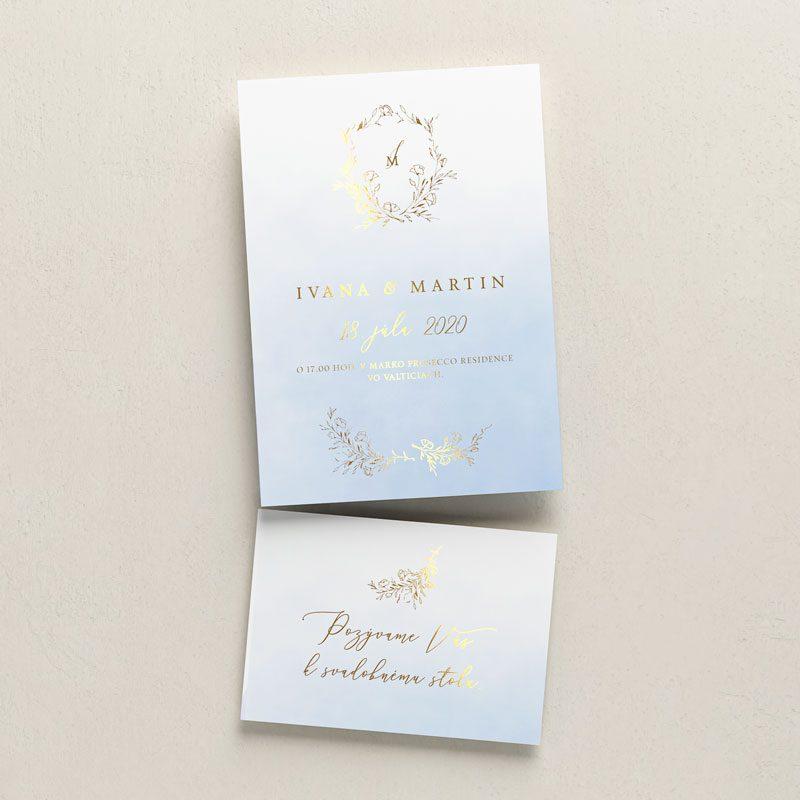 svadobné oznámenie a pozvanie k stolu modré so zlatou tlačou