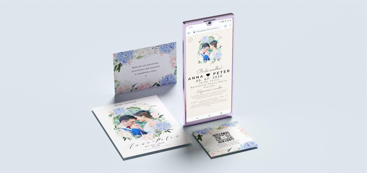 svadobné oznámenie v online verzií s klasickým oznámením pozvaním a kartičkou s qr kódom