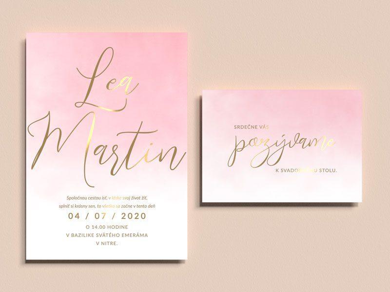 svadobné oznámenie a pozvanie k stolu watercolor pink