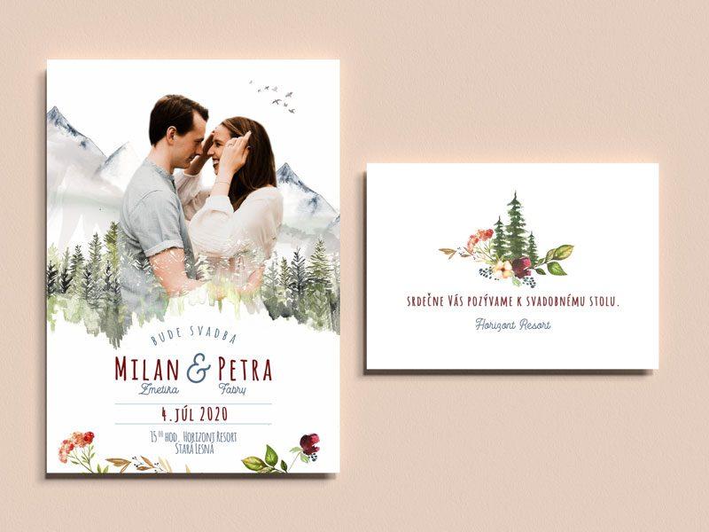 svadobné oznámenie a pozvanie k stolu motív hôr