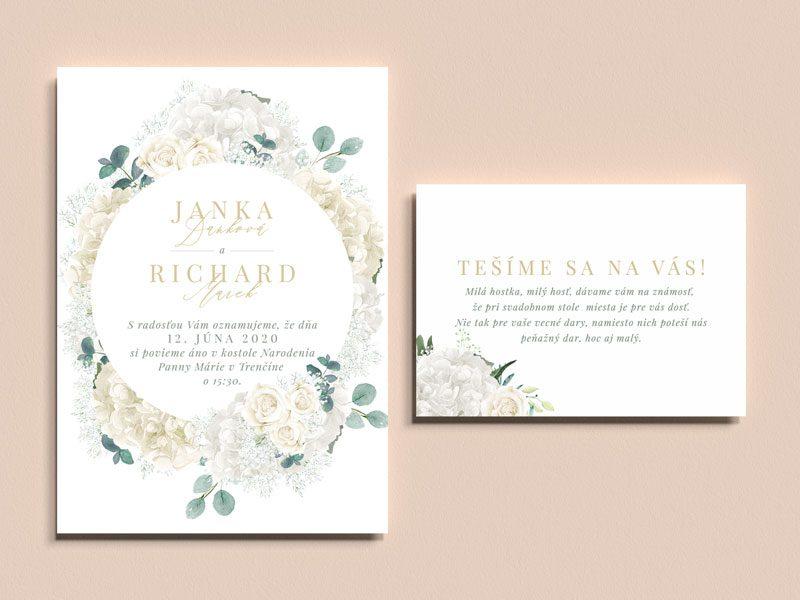 svadobné oznámenie a pozvanie k stolu biele kvety