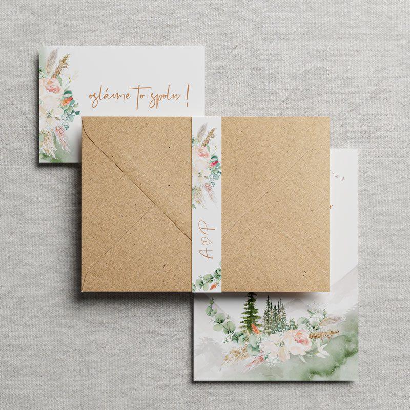 svadobné oznámenie previazane špagátom s motívom lesu