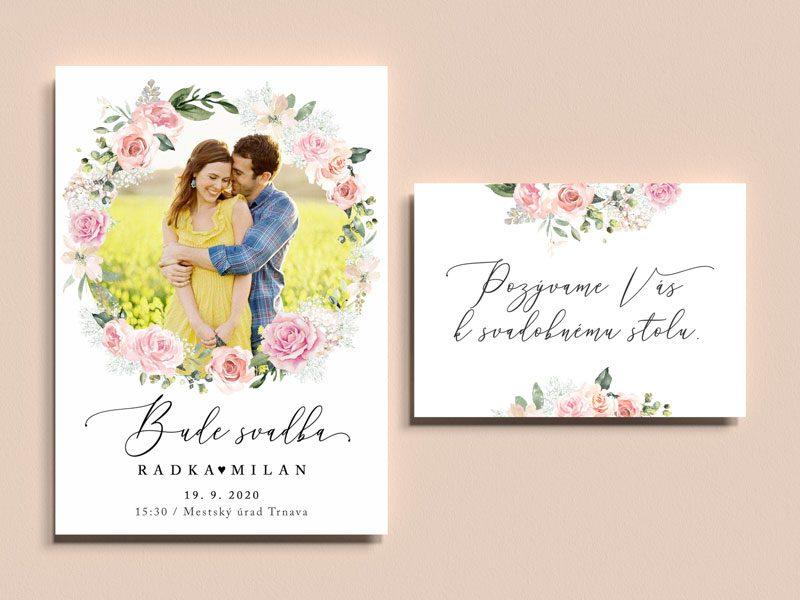 svadobné oznámenie a pozvanie k stolu s vlastnou fotkou doplnené maľovaným venčekom