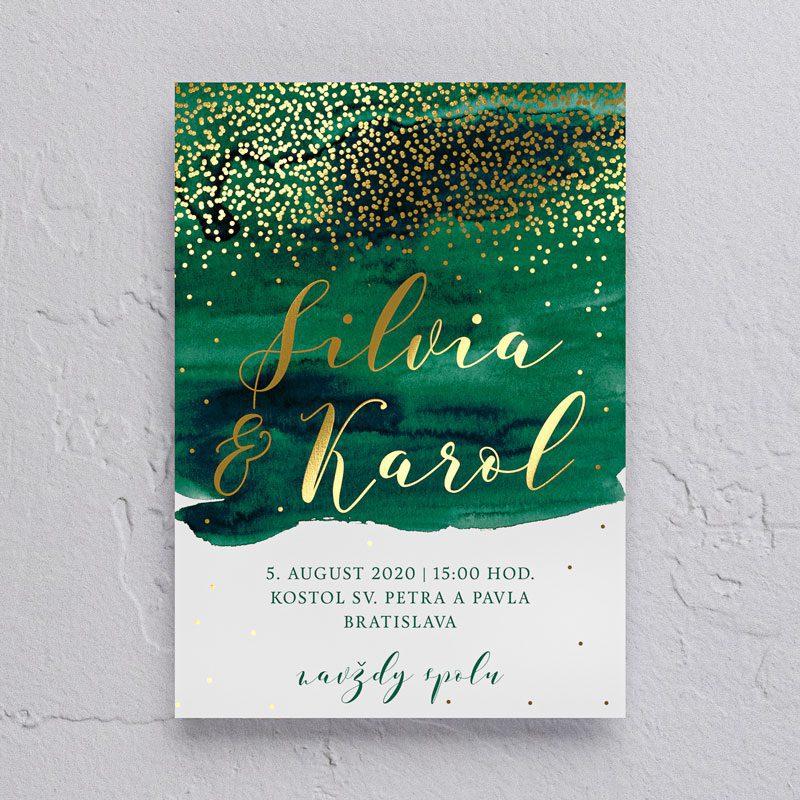 smaragdovo zelené svadobné oznámenie so zlatou tlačou