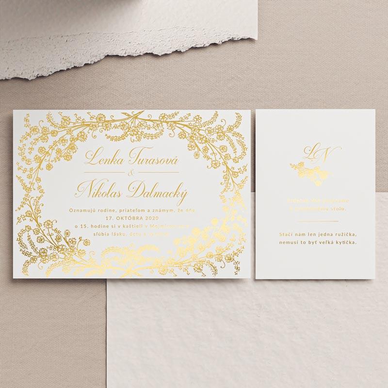 svadobné oznámenie s pozvánkou k stolu so zlatým venčekom