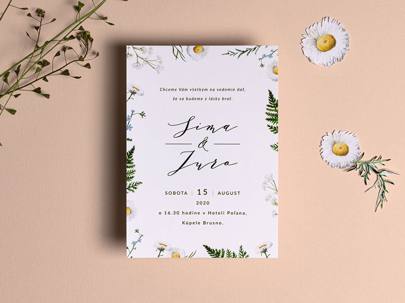 svadobné oznámenie s lúčnymi kvetmi