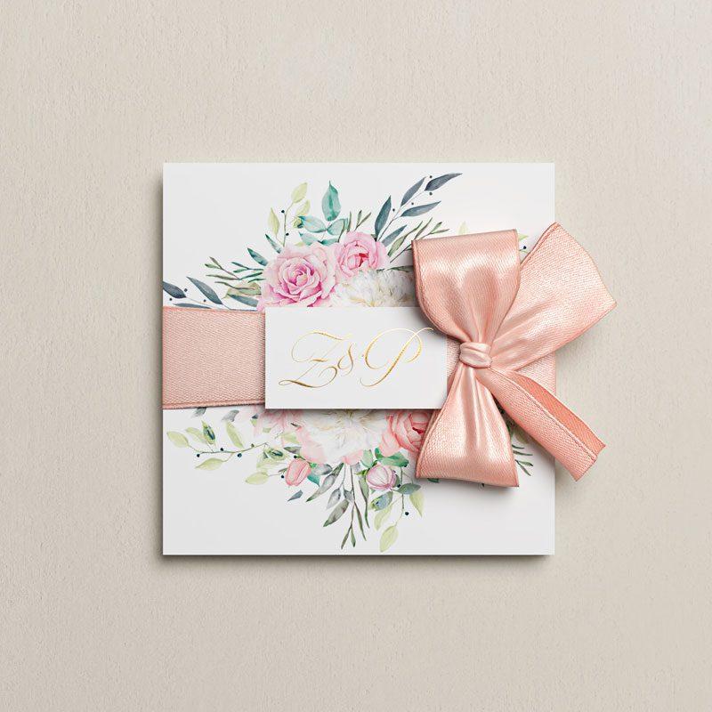 svadobné oznámenie kytica otváracie s mašľou