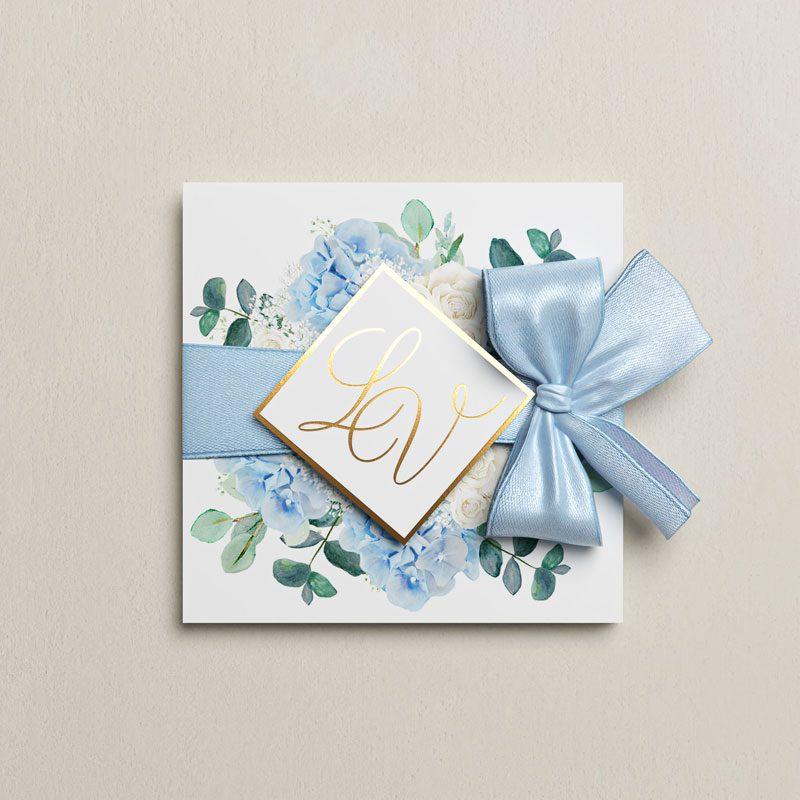 svadobné oznámenie modré zlátené