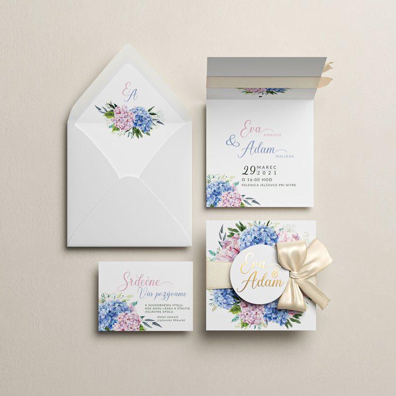 svadobné oznámenie, pozvanie a obálka hortenzie otváracie