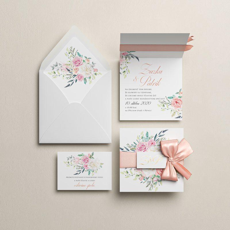 svadobné oznámenie kytica otváracie s mašľou otvorené s pozvaním vedľa