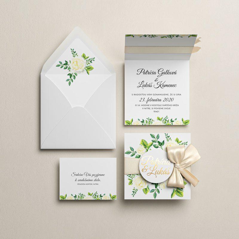 svadobné oznámenie, pozvanie a obálka zeleň otváracie